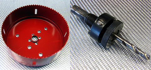 Bi-metal hole saws are specialized attachments that allow you to drill large diameter holes. You need an Arbor (sold separately) that fits your drill in order to use a hole saw attachment. Here are the conversions for using a hole saw for the most popular PC cooling fans. For this guide, we're using 4.5-inch hole saw for 120mm cooling fan.