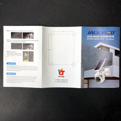 Find JACKYLED Ultra Bright Outdoor Solar Security Motion Sensor Light Instructions.