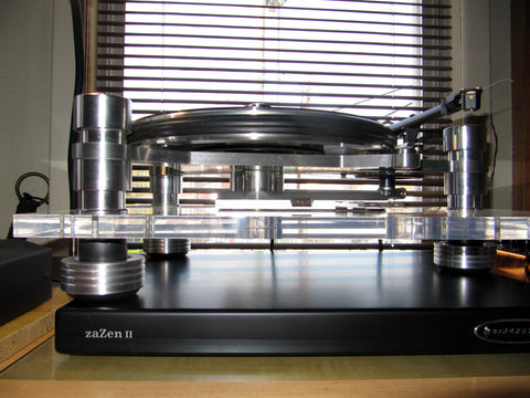 Custom Made Anti-Vibration Feet For Oracle Audio Delphi Turntable with Mnpctech isolation feet.