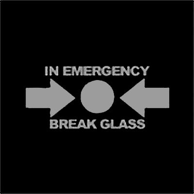 In Case Of Emergency Break Glass Vinyl Window Applique Sticker Decal