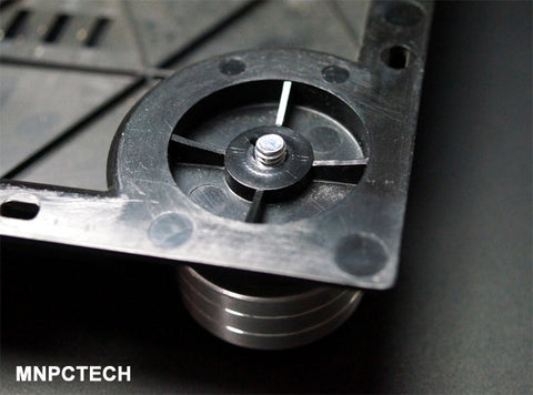 remove nut from mnpctech pioneer PL-530, PL-550, PL-570 isolation foot and insert foot into turntable bottom cover.