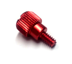 Red custom gaming pc case thumbscrew