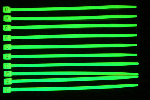UV Reactive Green Colored PC Cable Zip Tie Wraps