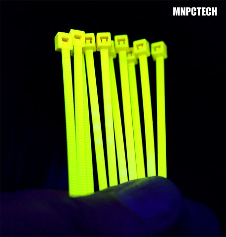 UV Reactive Yellow Colored PC / Computer Cable Zip Tie Wraps.