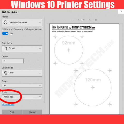 Windows 10 Printer Setting for Mnpctech PC fan & Radiator templates