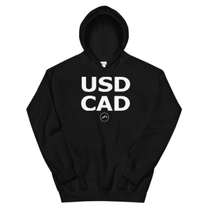 USDCAD (BLACK) HOODIE | Forex Trading Apparel - Fly Trader Tee