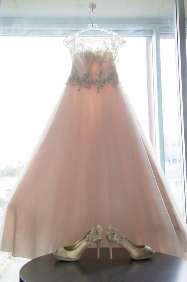 Abbie's wedding dress with Ruby Shoo Donna gold
