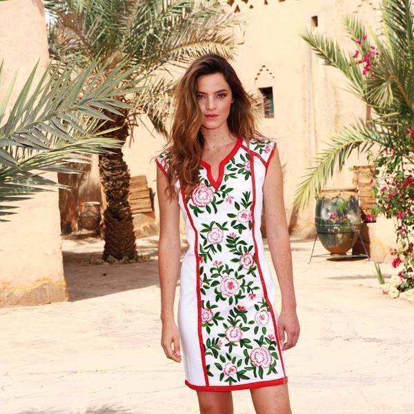Almatrichi Cris Dress Womens with Embroidered Roses