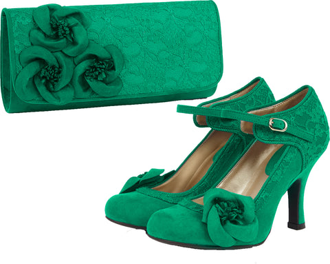 Ruby Shoo Anna and Milan in Emerald Green
