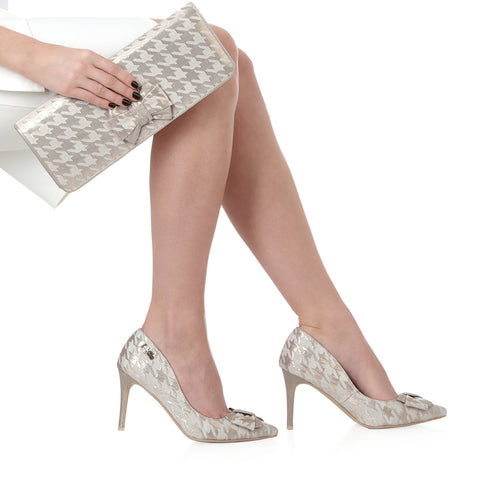 Ruby Shoo cream and gold pointed Jenna shoe with matching madrid bag