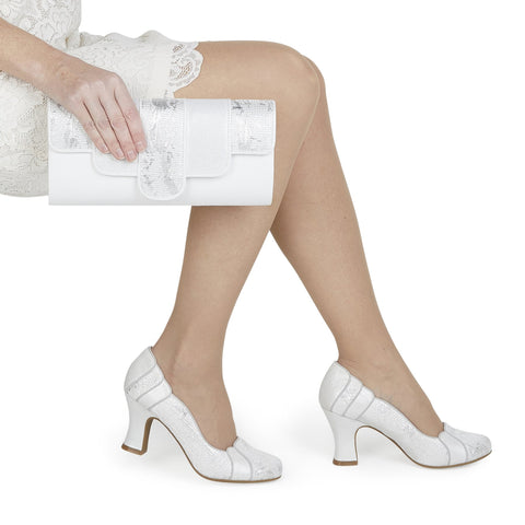 Ruby Shoo priscilla white and silver mid heel bridal shoe and matching bag