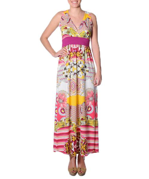 Smash Women's maxi dress with pink and yellow print summer