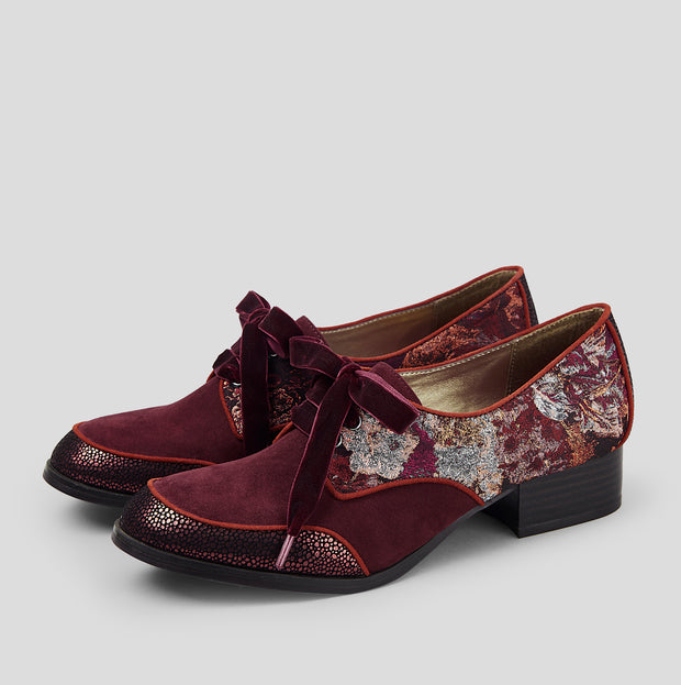 Ruby Shoo Micah Bordeaux Lace Up Flat Shoes