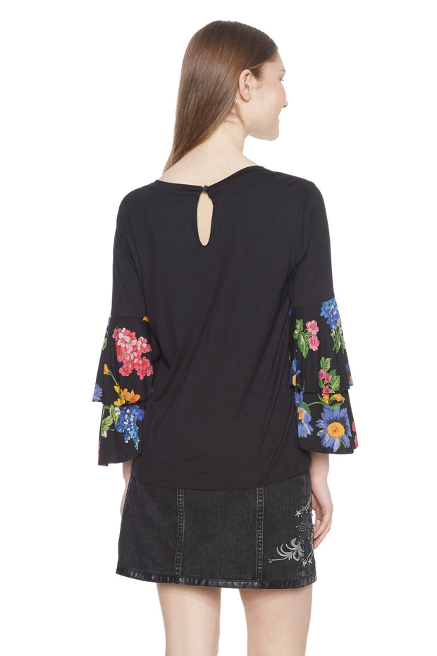 Desigual Women's Flavia Floral 3/4 Fluted Sleeve Top Style 18WWTKB2