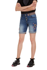 Desigual Women's Love Habana Embroidered Denim Shorts Style 19WWDD13