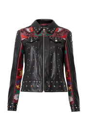 Desigual Women's Carole Jewelled Faux Leather Embroidered Jacket Style 19WWEW31