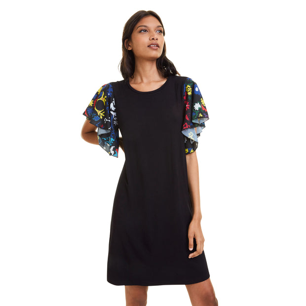 Desigual Women's Crisbell Jersey Dress with Flared Floral Sleeves Style 19WWVKAK