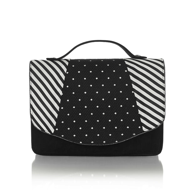 Ruby Shoo Belfast Black Stripe Satchel Mini Briefcase Bag (Matches Ophelia Mid-Heels)