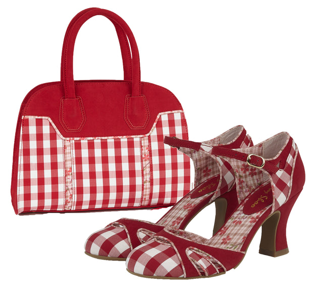 Ruby Shoo Jeraldine Red Mary Jane Heels & Matching Cancun Bag