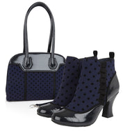 Ruby Shoo Antoinette Blue Spot High Heel Boots & Matching Montpellier Bag