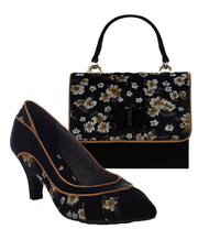 Ruby Shoo Daphne Black Floral Pointed Court Shoes & Matching Casablanca Bag
