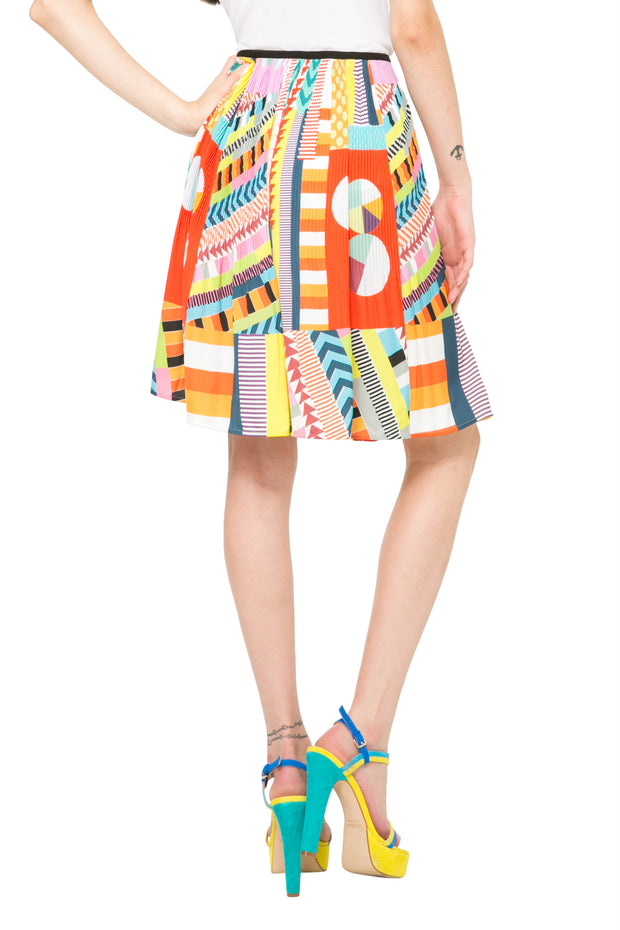Desigual by L Women's Bright Pleated Flared Sofia Skirt Style 61F2LA3