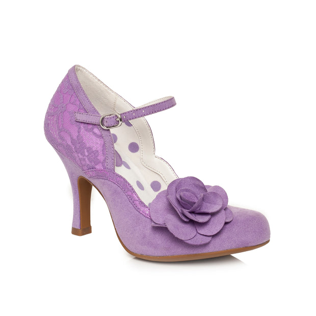 Ruby Shoo *BELLE DIVINO EXCLUSIVE* Josie Lilac Purple Lace Mary Jane Pumps