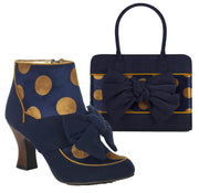 Ruby Shoo Seren Navy Mid Heel Bow Boots & Matching Dakota Bag
