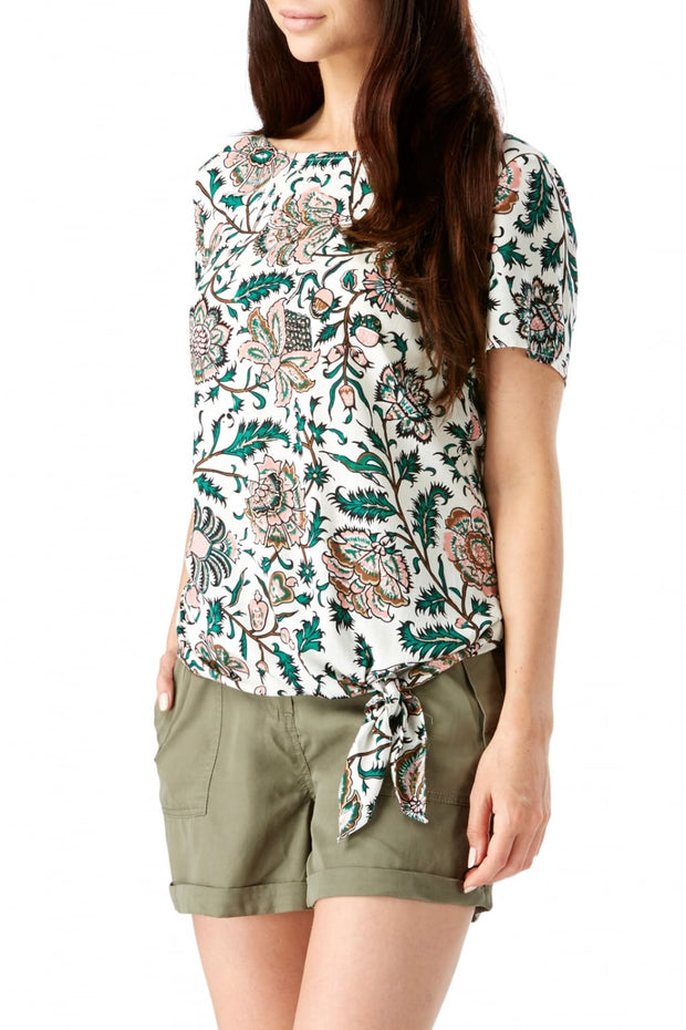 Sugarhill Boutique Women's Zia Tropical Floral Tie Front Tee Top