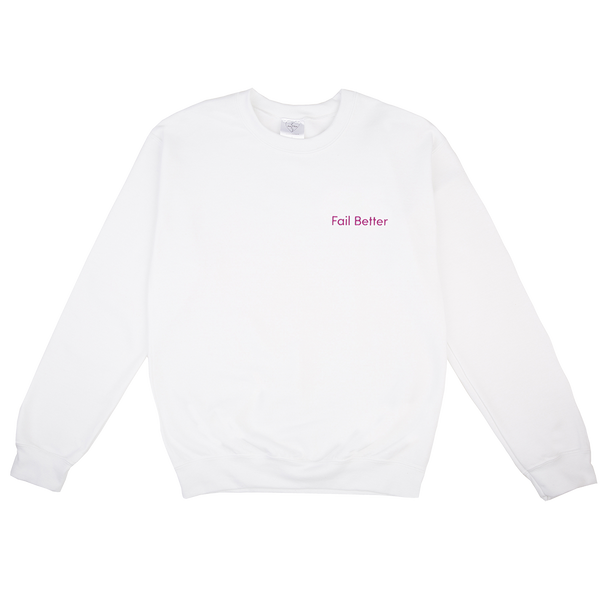 FAIL BETTER EMBROIDERED WHITE SWEATER