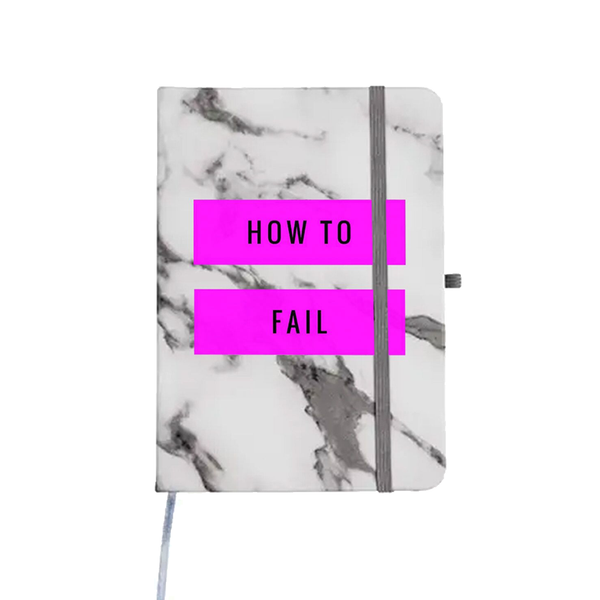 HOW TO FAIL WHITE MARBLE NOTEBOOK