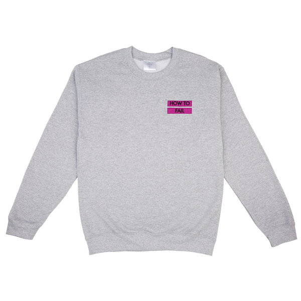 HOW TO FAIL / PINK LINES EMBROIDERED GREY MARL SWEATER