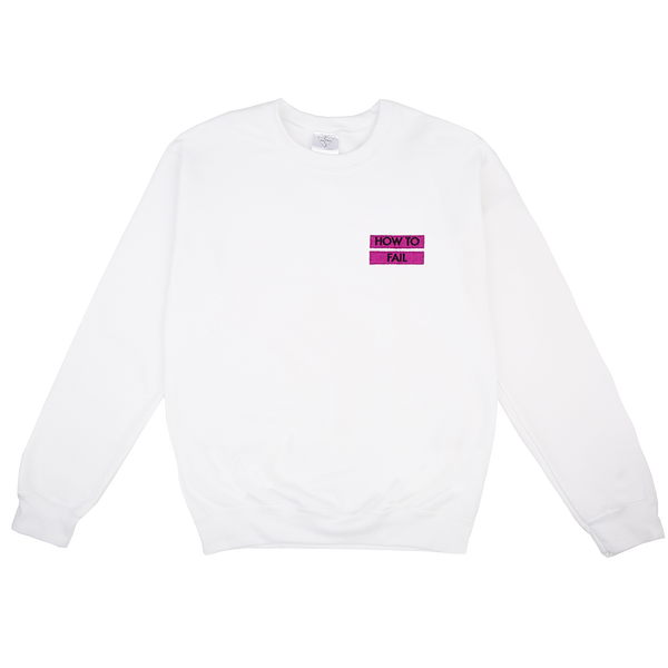 HOW TO FAIL / PINK LINES EMBROIDERED WHITE SWEATER