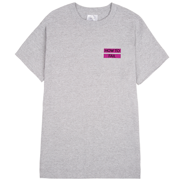 HOW TO FAIL / PINK LINES EMBROIDERED GREY MARL T-SHIRT