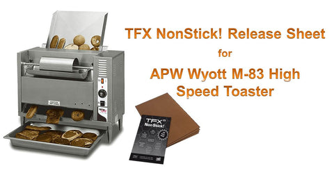 "TFX NonStick! PTFE Release Sheet for APW Wyott M83 High Speed Toaster - 18 x 20"" (10-pack)"