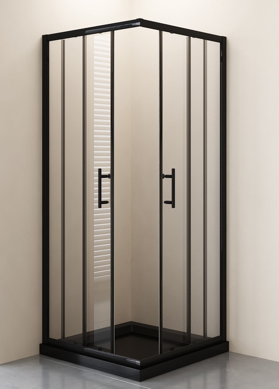 SHOWER ENCLOSURE CORNER SLIDER BLACK 1000