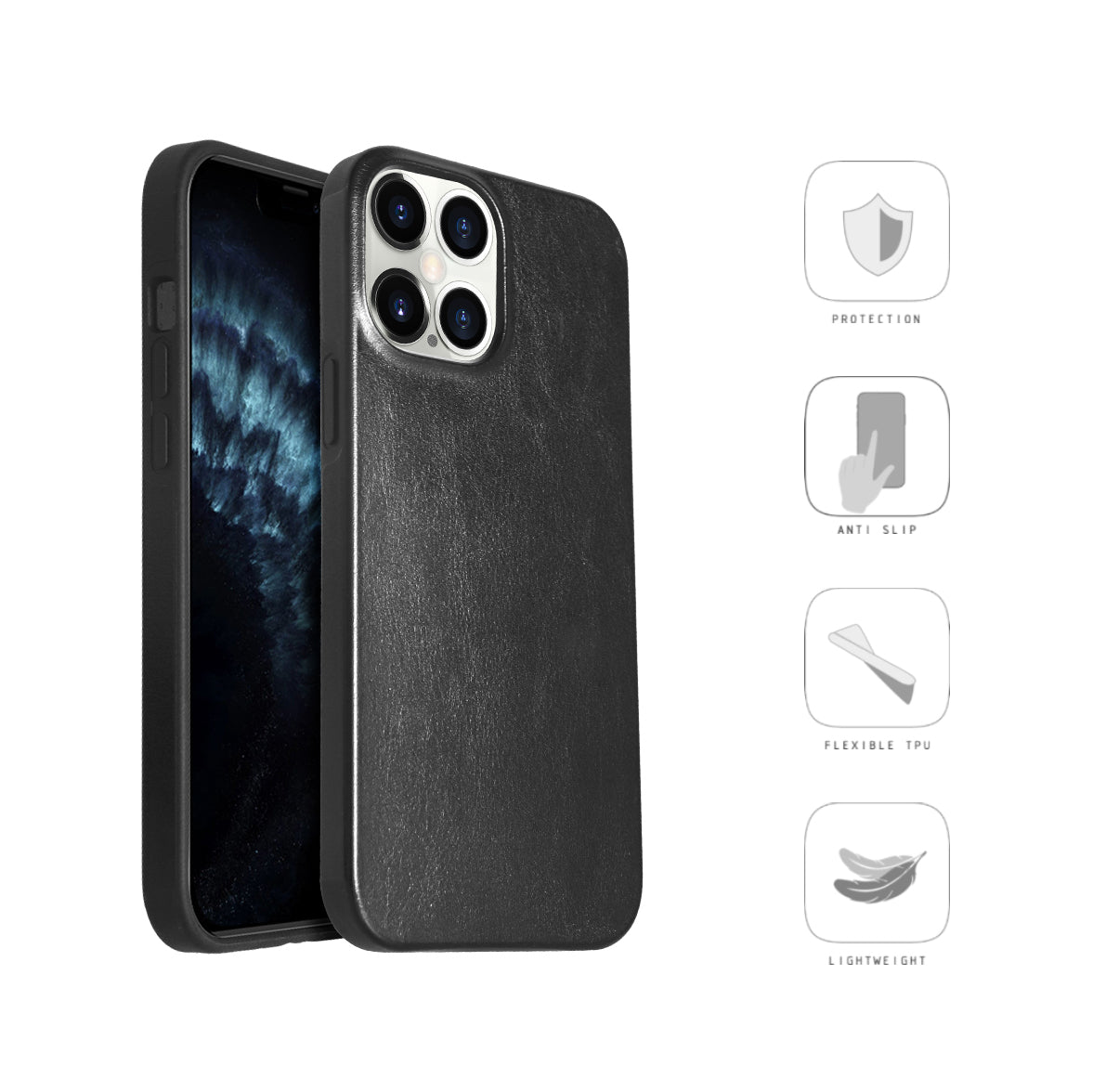 Original Designed Leather Case for Apple iPhone 12 Pro [6.1 inches] Hard Back Slim Cover Protective Phone Case