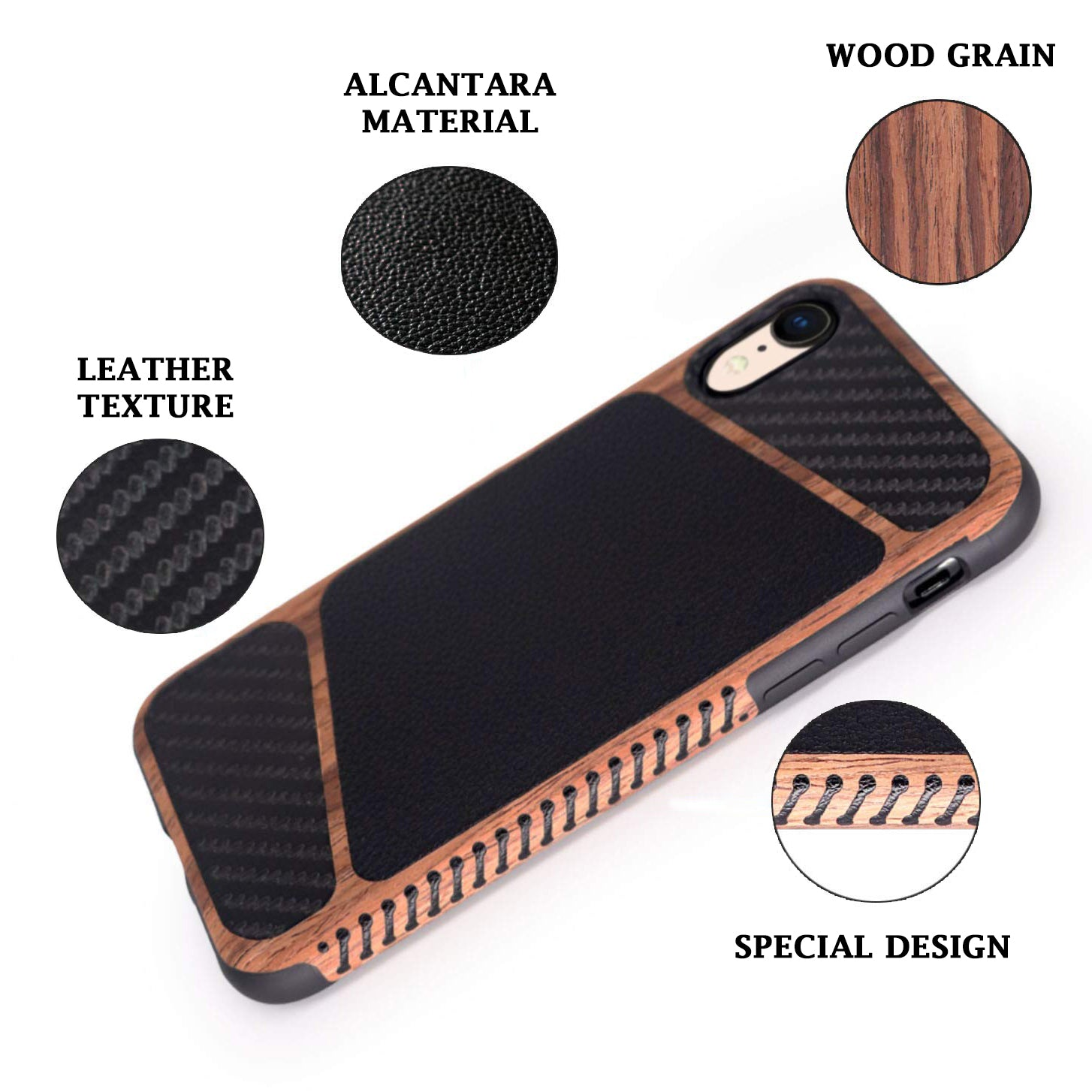 Wood Grain Leather Case for iPhone Xr