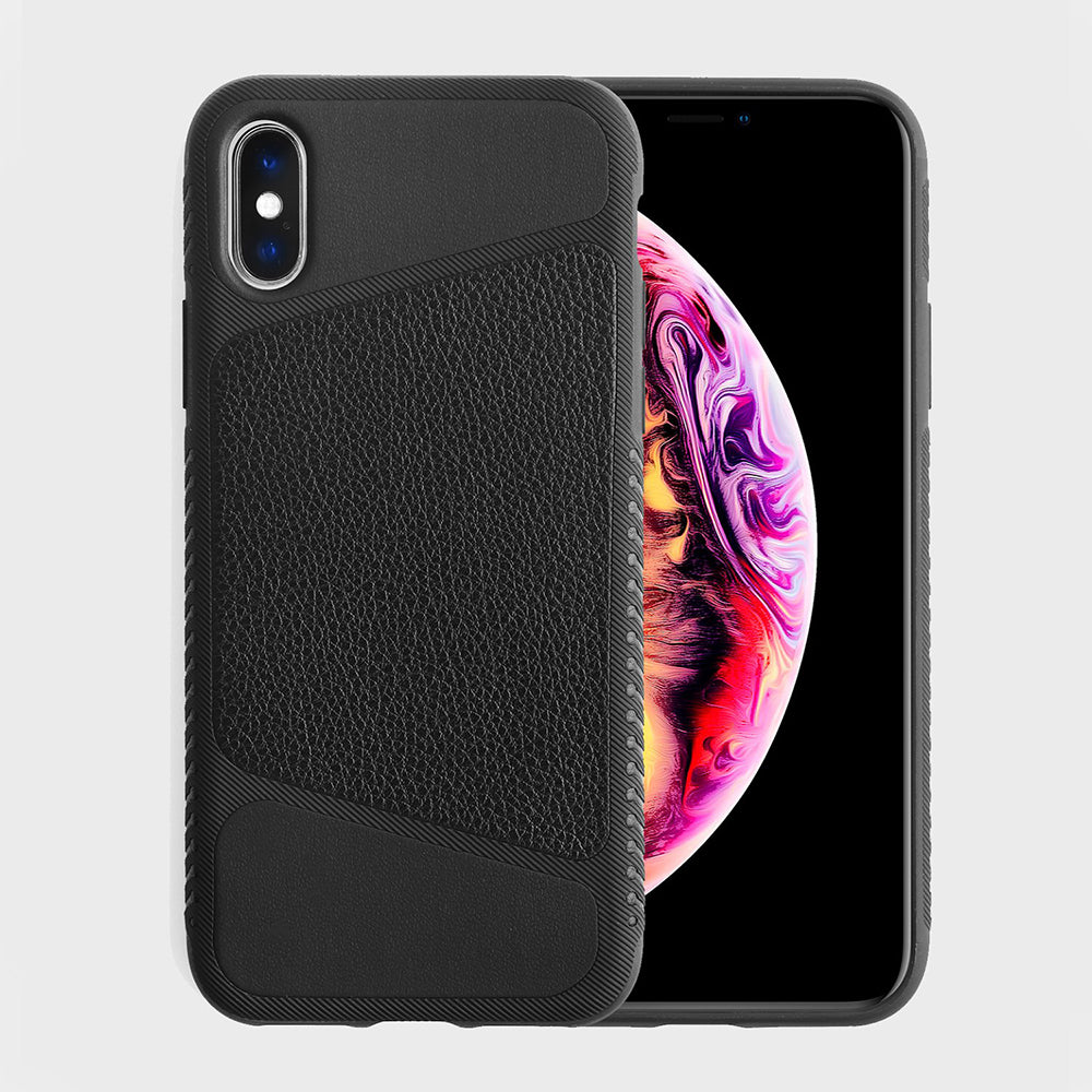 Wood Grain Leather Case for iPhone Xs