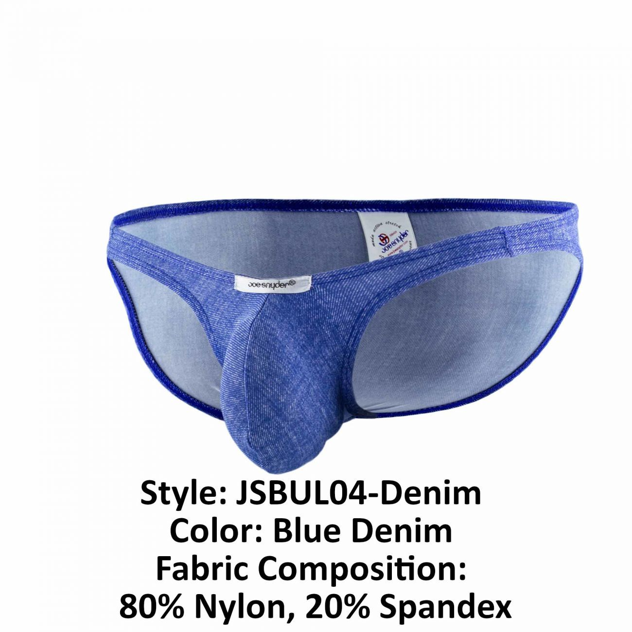 Joe Snyder JSBUL04-Denim Bulge Full Bikini Color Blue Denim