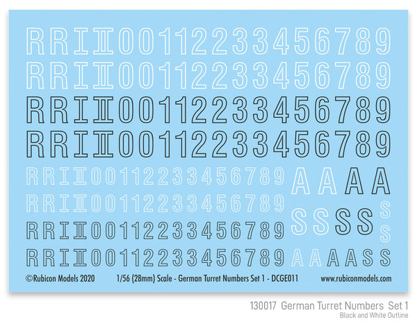 130017 - German Turret Numbers Set 1 Decal Sheet