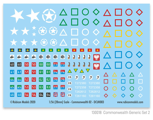 130018 - Commonwealth Generic Set 2 Decal Sheet