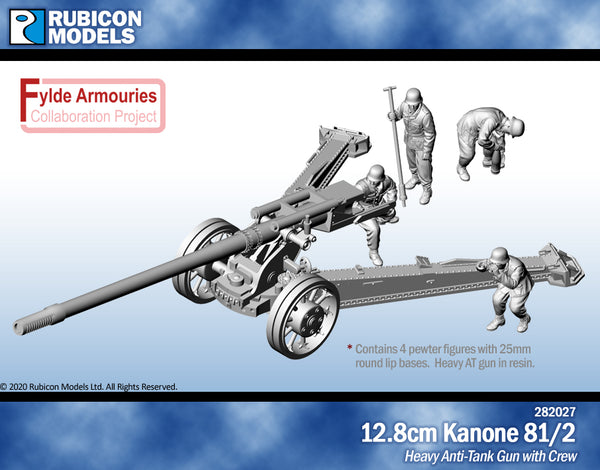 282027 - 12.8cm Kanone 81/2 with Crew - Resin and Pewter