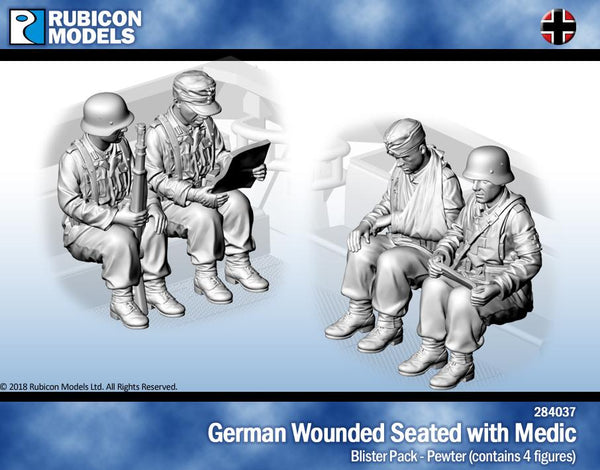 284037 - German Wounded Seated with Medic - Pewter