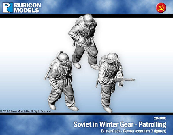284080 - Soviet Infantry in winter Gear Patrolling - Pewter