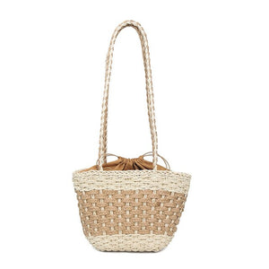 Women Handbag Hand Made Straw Woven Tote Large Capacity Summer Beach Party Shoulder Bag  OH66