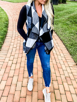 Black & White Plaid Vest