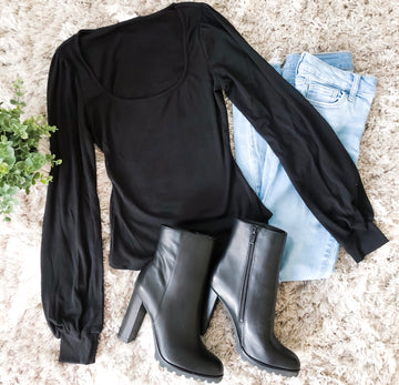 Free Spirit Square Black Bodysuit