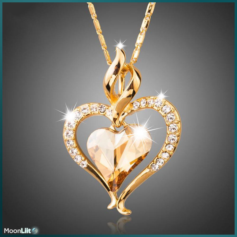 18K Gold Plated Heart Necklace - Austrian Rhinestone Pendant