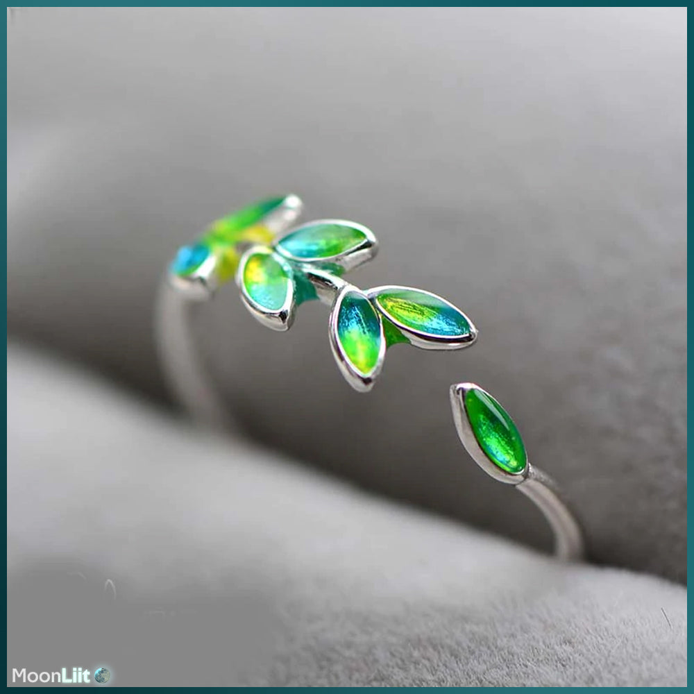 Leaves of Life - 925 sterling silver resizable leaf ring